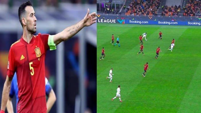 Kolase foto: Sergio Busquets menyoal gol Mbappe dalam posisi offside