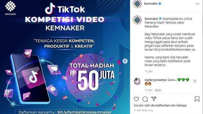 Kemnaker Gelar Kompetisi Video TikTok, Hadiah Puluhan Juta Rupih, Simak Syarat dan Cara Daftarnya