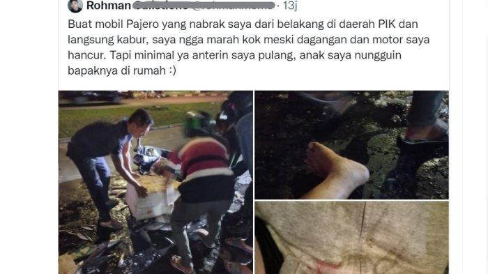 Curhat Pedagang Korban Tabrak Lari Pengendara Pajero di PIK Jakarta, Motor dan Dagangan Hancur