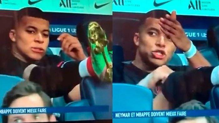 Kylian Mbappe marah karena tak dioper oleh Neymar. (Canal+)
