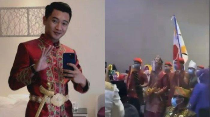Prosesi lamaran adat Bugis atau mappettuada Ipda Fadly Fachrezi Konggoasa dan Megawaty Putri Syaeful Mamma berlangsung di Hotel Four Points by Sheraton  Makassar, Provinsi Sulawesi Selatan (Sulsel), Rabu (23/06/2021).