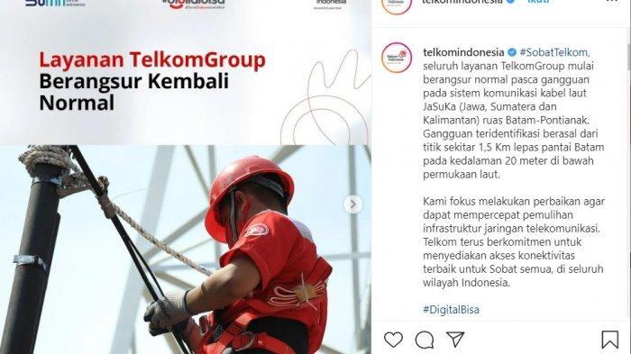 Telkom Group mengklaim layanan internet Indihome dan Telkomsel berangsur normal setelah terjadinya gangguan. Layanan internet down baik fixed (IndiHome) maupun mobile broadband (Telkomsel) berlangsung sejak Minggu (19/09/2021) petang hingga Senin (20/9/2021) hari ini.