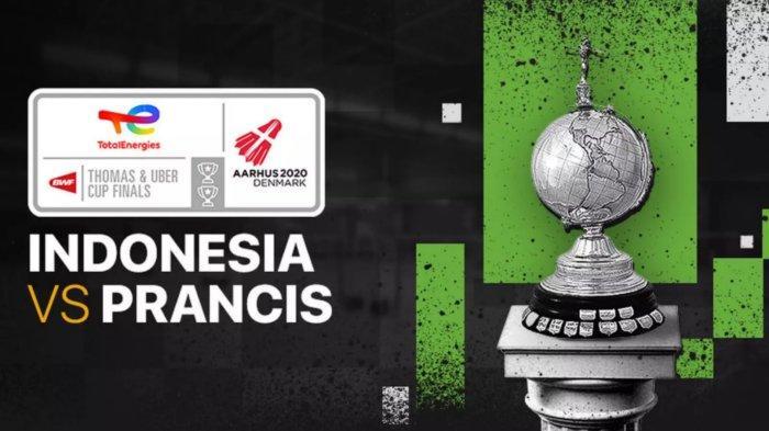 LIVE Indonesia vs Prancis Uber Cup 2021 di TVRI, Live Streaming Vidio.com, Apriyani Tanpa Greysia