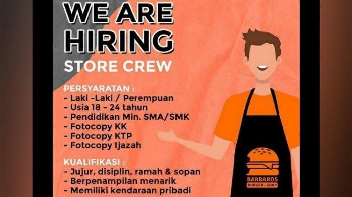 Lowongan Kerja Kendari, Barbaros Buka Rekrutmen Store Crew, Berikut Kualifikasi dan Persyaratan