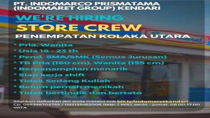 Lowongan Kerja Indomaret Group Kendari Buka Rekrutmen Store Crew untuk Penempatan Kolaka Utara