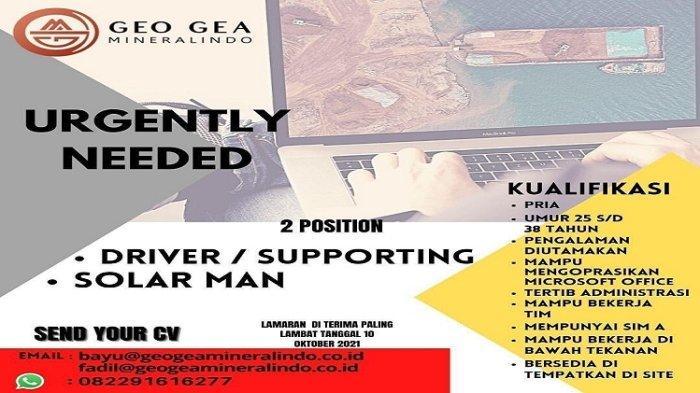 Lowongan Kerja Kendari, PT Geo Gea Mineralindo Buka Rekrutmen Driver dan Solarman, Kualifikasi