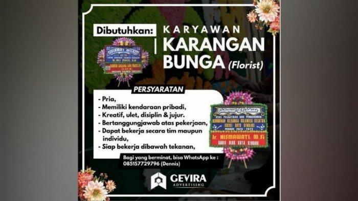 Lowongan Kerja Kendari, Gevira Advertising Buka Rekrutmen Karyawan Karangan Bunga, Persyaratan