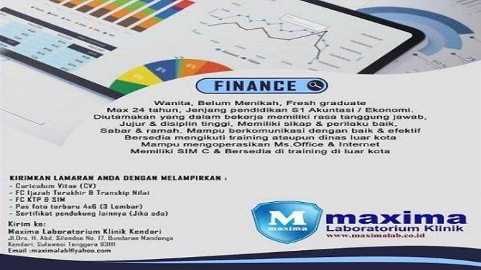 Lowongan Kerja Kendari, Maxima Laboratorium Klinik Buka Loker Finance, Kualifikasi dan Persyaratan
