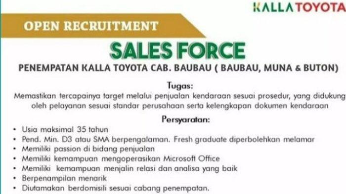 Lowongan Kerja Kalla Toyota Buka Rekrutment Sales Force, Berikut Kualifikasi dan Cara Daftarnya