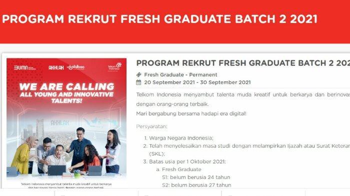 Berikut lowongan kerja atau loker PT Telkom Indonesia, 38 bidang pekerjaan bagi lulusan S1 dan S2, penempatan seluruh Indonesia.