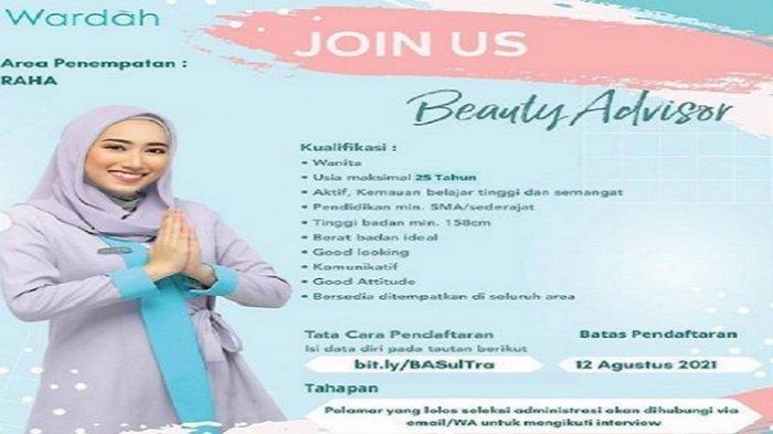 Lowongan Kerja Raha, Wardah Buka Rekrutmen Beauty Advisor, Ini Kualifikasi dan Tata Cara Pendaftaran