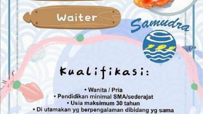 Lowongan Kerja Kendari, RM Samudra Buka Rekrutmen Waiter, Berikut Kualifikasi dan Kelengkapan Berkas