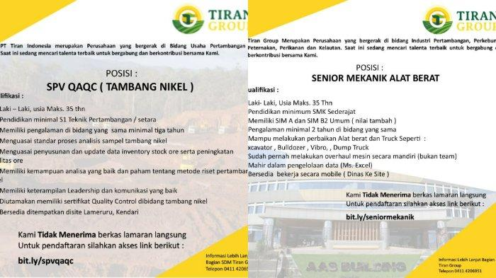 Lowongan Kerja Sulawesi Tenggara 2021: PT Tiran Indonesia dan PT Orion Buka Loker Tambang Sultra