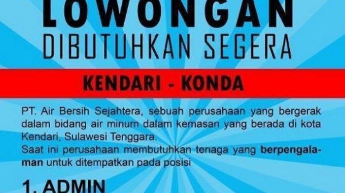 Lowongan Kerja PT Air Bersih Sejahtera, Buka Rekrutmen Admin & Koki, Simak Persyaratannya