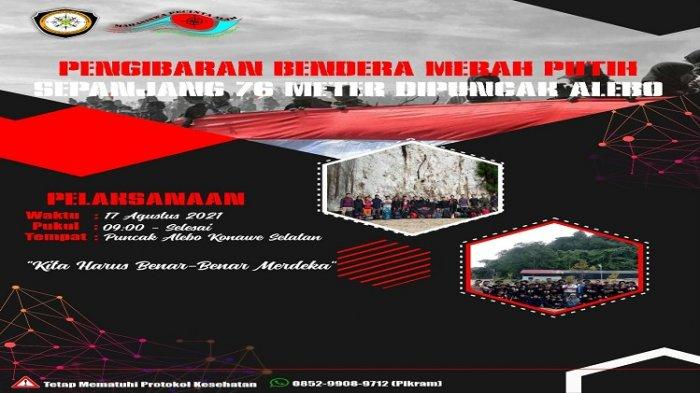 Semarakkan HUT ke-76 RI, Mahasiswa UMK Kibarkan Merah Putih Sepanjang 76 Meter di Puncak Bukit Alebo