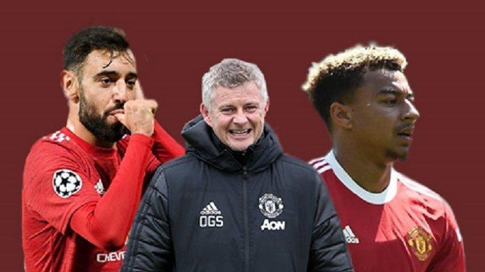 KOLASE FOTO: Pelatih Manchester United Ole Gunnar Solskjaer bersama Bruno Fernandes dan Jesse Lingard.