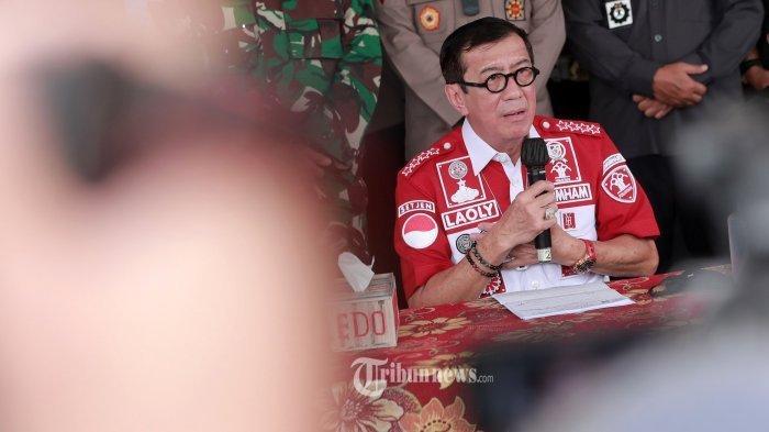 Menkumham Yasonna Laoly memberi keterangan saat mengunjungi Lapas Klas 1 Tangerang, Banten, Rabu (8/9/2021).