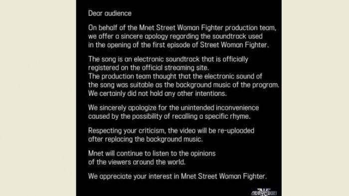 Alasan stasiun TV Korea Mnet menggunakan remix suara adzan sebagai musik Street Woman Fighter, akhirnya minta maaf.