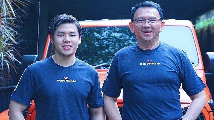 Nicholas Sean Purnama (kiri) dan sang ayah Basuki Tjahaja Purnama alias Ahok.