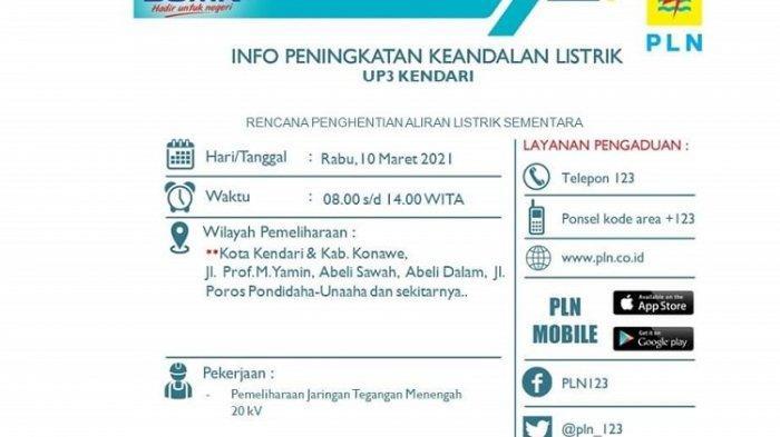 Pamflet pemberhentian sementara aliran listrik dari PLNUP3 Kendari.