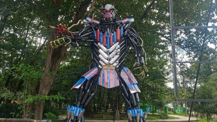 Patung Robot Transformers Antravi Polres Kendari Rampung, Pesan Ancaman ke Pelanggar Lalu Lintas