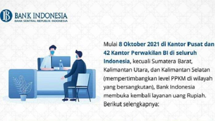 Jadwal Layanan Penukaran Uang Rupiah di Bank Indonesia, Lengkap Alamat Kantor Perwakilan BI Sultra