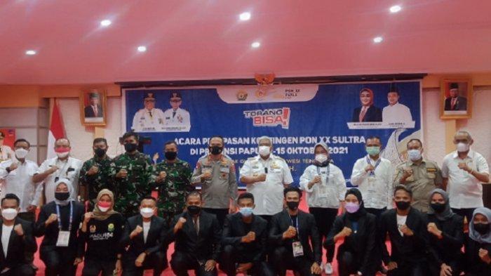 Pelepasan atlet dari 14 cabor yang bertanding di PON Papua 2021 di Aula Merah Putih Rumah Jabatan Gubernur Sulawesi Tenggara (Rujab Gubernur Sultra), Kamis (23/9/2021).