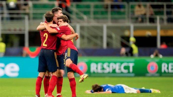 Pemain Spanyol merayakan kemenangan atas Italia di semifinal UEFA Nations League 2021.