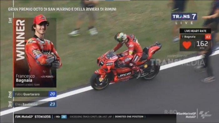 Pembalap Ducati Fransesco Bagnania juara 1 seri MotoGP San Marino pada Minggu (19/09/2021) malam.