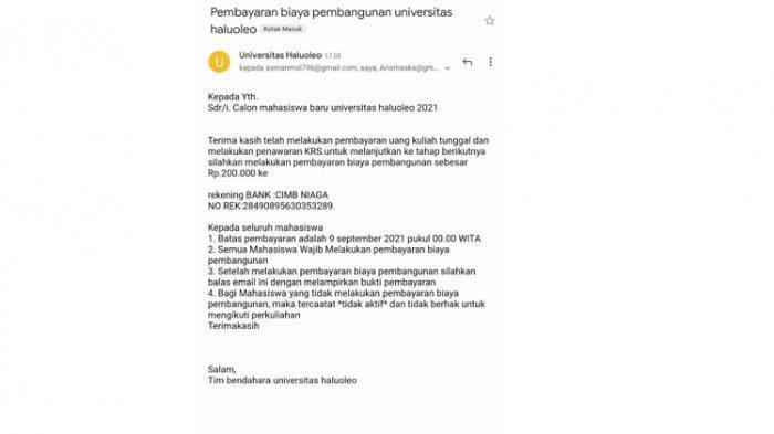 Wakil Rektor I Bidang Akademik Sebut Tagihan Biaya Pembangunan yang Beredar via Email Hoax