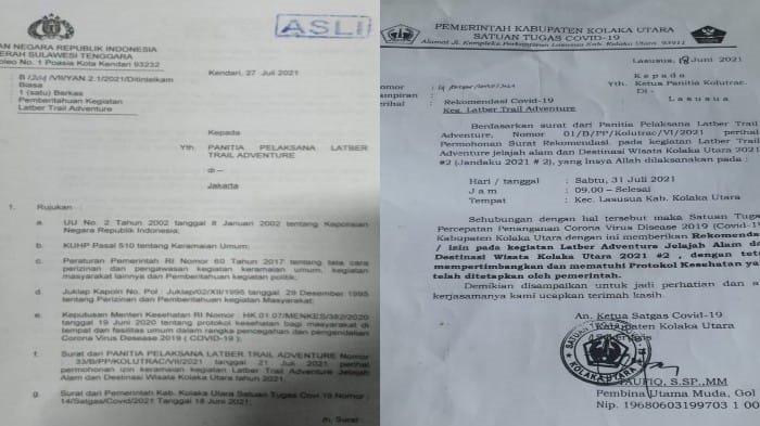 Pemberian izin atau rekomendasi kegiatan Latber Trail Adventure dari Kepolisian Daerah Sulawesi Tenggara (Polda Sultra) dan Satgas Covid-19 Kolaka Utara.