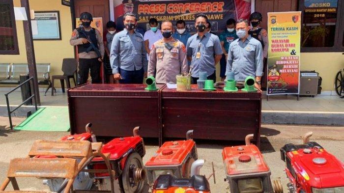 Enam Tersangka Sindikat Pencuri Mesin Traktor Milik Petani di Kabupaten Konawe Ditangkap Polisi