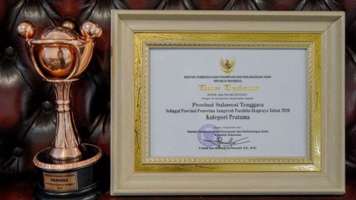 Anugerah Ekapraya 2021 dari Kementerian Pemberdayaan Perempuan dan Perlindungan Anak diberikan kepada Pemerintah Provinsi Sulawesi Tenggara (Sultra).