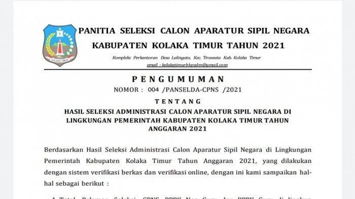 4.535 Pelamar CPNS dan 13 PPPK Non Guru Koltim Lolos Seleksi Administrasi