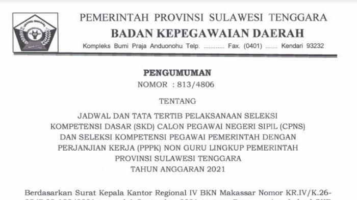 Pengumuman pelaksanaan SKD CPNS Sulawesi Tenggara