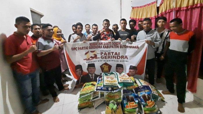 DPC Partai Gerindra Buton Utara memberikan bantuan sembako bagi warga Kelurahan Kulisusu Kabupaten Buton Utara