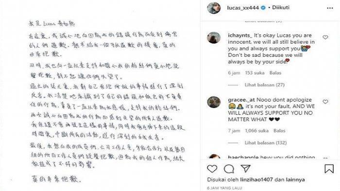 Diisukan Skandal Gaslighting, Lucas WayV Tulis Permintaan Maaf hingga Hentikan Semua Kegiatan