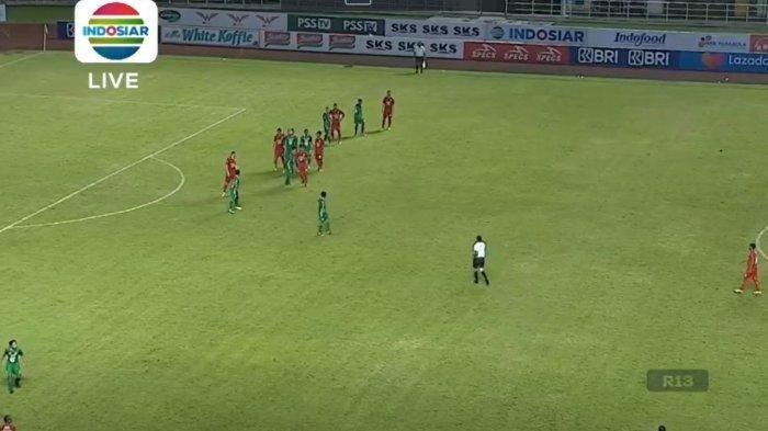 Pertandingan lanjutan BRI Liga 1 pekan pertama yang mempertemukan antara PSS Sleman vs Persija Jakarta di Stadion Pakansari, Bogor, Minggu (5/9/2021) (Tangkapan layar laman resmi Vidio.com)