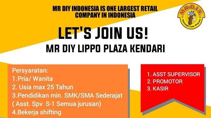 Lowongan Kerja Kendari, Mr DIY Lippo Plaza Rekrutmen Assistant Supervisor, Promotor dan Kasir