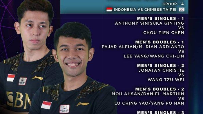 Live TVRI Piala Thomas 2021 Indonesia vs Taiwan Pukul 13.30 Hari ini Tanpa Marcus/ Kevin, Duet Ahsan