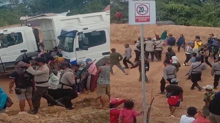 Suasana detik-detik polisi bubarkan pendemo pakai senjata api di Desa Sangi-sangi, Kecamatan Laonti, Kabupaten Konawe Selatan (Konsel) Provinsi Sulawesi Tenggara (Sultra).