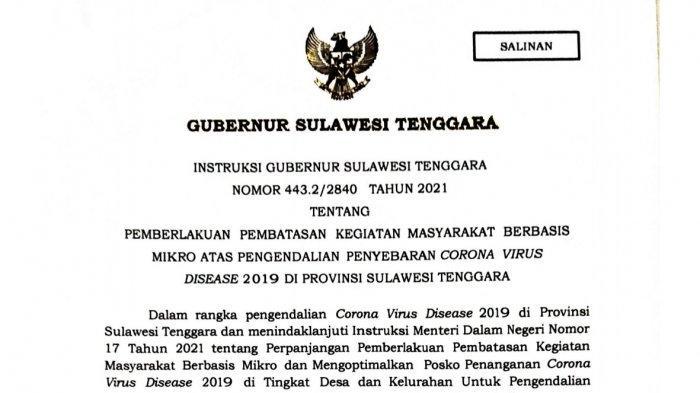 PPKM Mikro Tak Hanya Kendari Tapi 17 Kabupaten/ Kota se Sulawesi Tenggara, Instruksi Gubernur Sultra