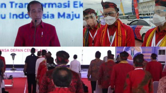 Kemeja Merah Jokowi, Rosan Roeslani, Arsjad Rasjid, Anindya Bakrie saat Munas Kadin 2021 di Kendari