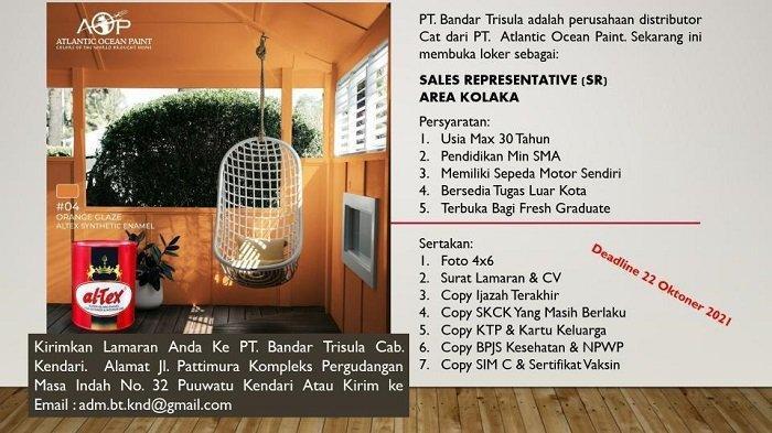 Lowongan Kerja Kolaka, PT Bandar Trisula Buka Rekrutmen Sales Representative, Simak Syaratnya