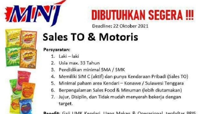 Lowongan Kerja Kendari, PT Marga Nusantara Jaya Buka Rekrutmen Sales dan Motoris, Ini Syaratnya
