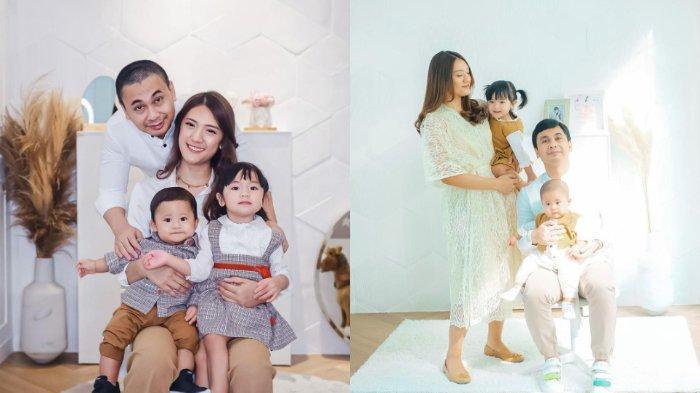 Raditya Dika bersama istrinya, Anissa Aziza, dan anak mereka, Alinea Ava Nasution serta Aksara Asa Nasution.