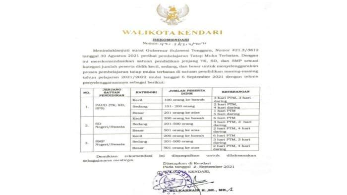 Surat rekomendasi ini sebagai tindak lanjut surat Gubernur Sulawesi Tenggara. Nomor 421.3/3812 tanggal 30 Agustus 2021 perihal pembelajaran tatap muka terbatas (PTMT).