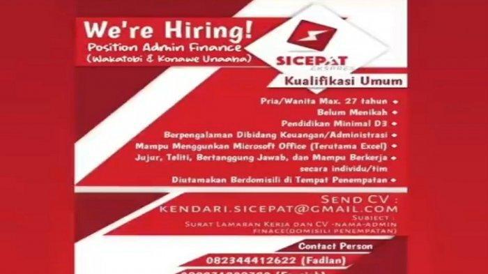 Lowongan Kerja Sultra, SiCepat Ekspres Kendari Buka Rekrutmen untuk Administrasi Keuangan