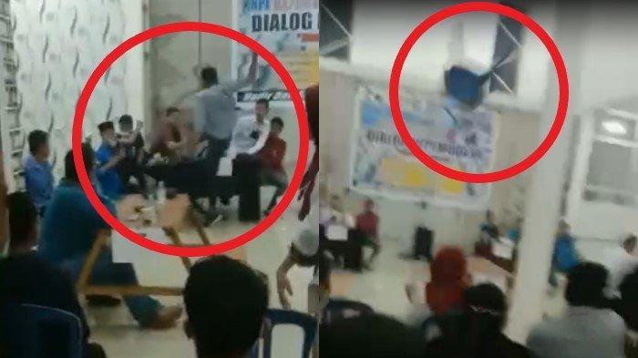 Detik-detik Ricuh Dialog Cipayung Plus dan KNPI di Kota Baubau, Pemuda Lempar Kursi hingga Adu Jotos