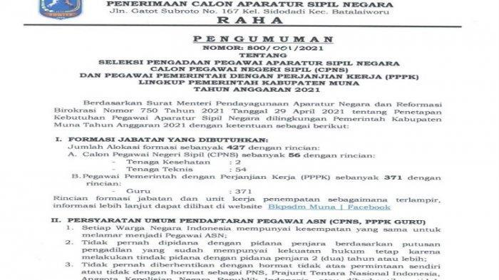 Rincian CPNS dan PPPK Guru 2021 Kabupaten Muna, 427 Formasi, Syarat dan Cara Daftar